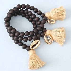 Free People Mantra Bead Tassel Bracelet Set